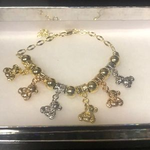 Jewelry - Gold Filled Tri-Color Teddy Bear Charm Bracelet
